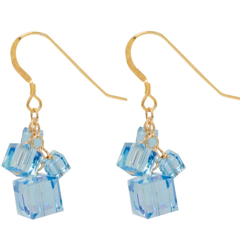 Aquamarine 4 Swarovski Crystal Cube Earrings