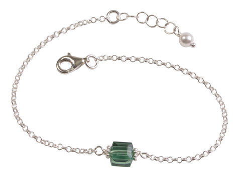 Emerald Green Crystal Cube Chain Bracelet