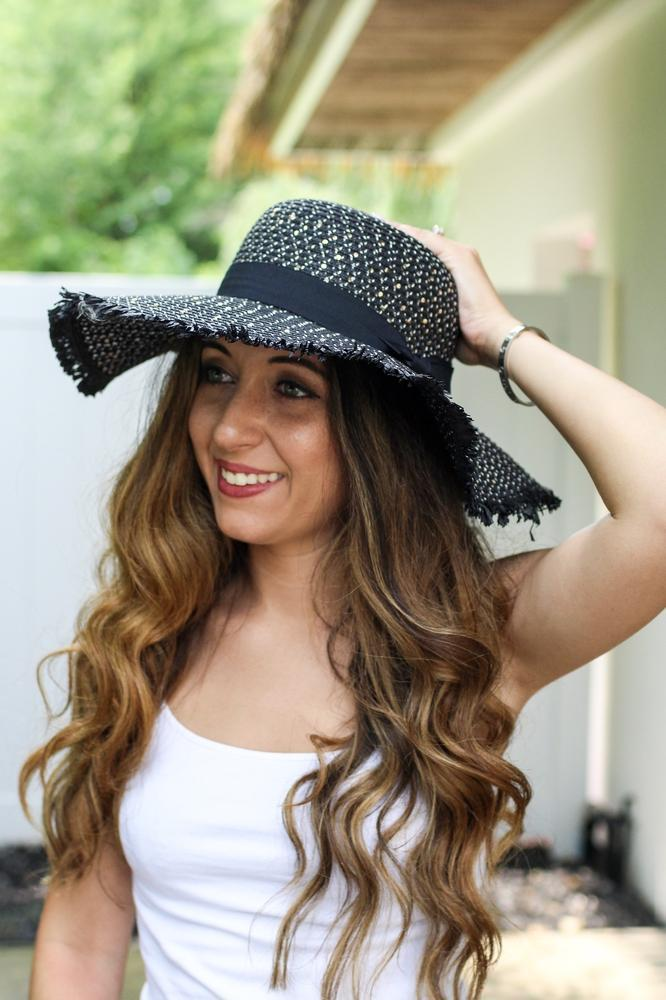 Sequin Floppy Hat with Frayed Ends