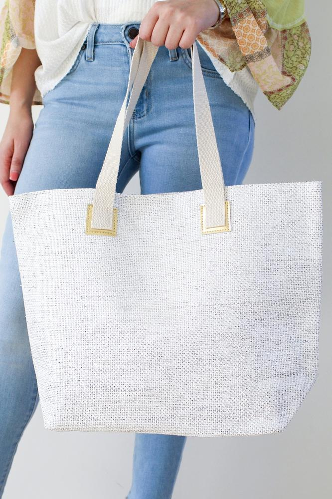 Metallic Stitch & Gold Trim Beach Bag