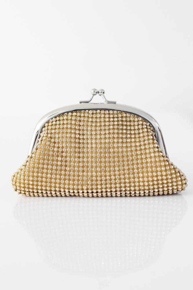 Mesh Rhinestone Arch Top Coin Purse