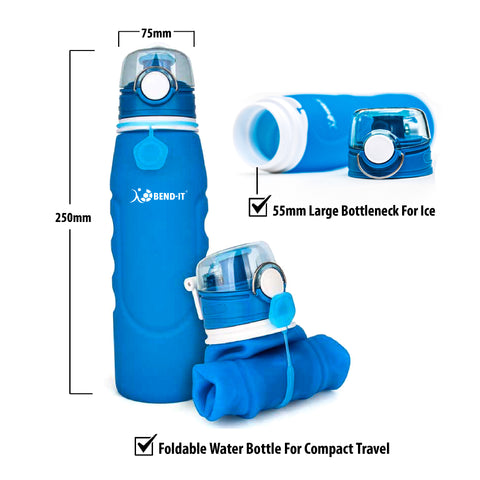 Bend-It Sport, Silicone Collapsible Water Bottle (Blue)