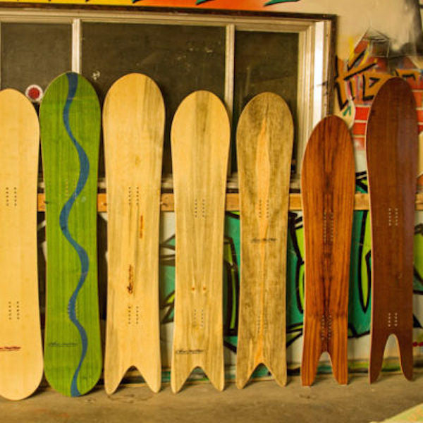 Mikey Franco's custom, eco snowboards use local wood, old school designs