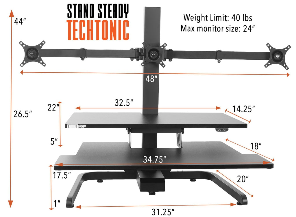 Stand Steady Techtonic Electronic Sit Stand Desk Converter