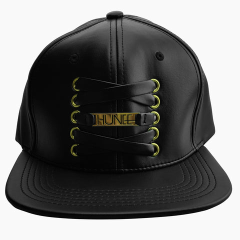 Black Faux Leather Cap with Leather Laces