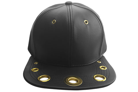 "Black ""Bullet"" Faux Leather Cap"