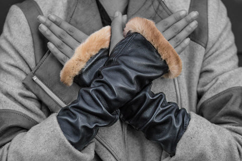 Black Lamb Skin and Recycled Mink Knuckle Duster Gloves