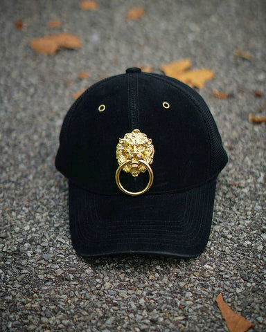Black Velour Lionhead Cap with Microfiber Back