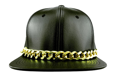 Black Faux Leather Baseball Cap with Large Gold Metal Chain