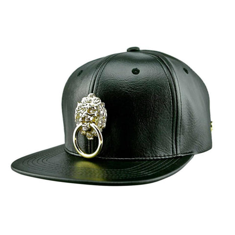 Black Faux Leather Lionhead Baseball Cap