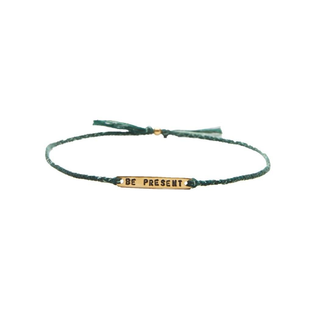 Be present green mix gold handmade bracelet from Santai.no