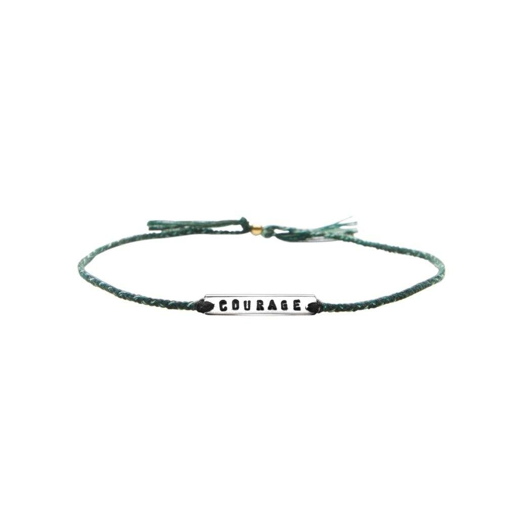 Courage green mix silver handmade bracelet from Santai.no