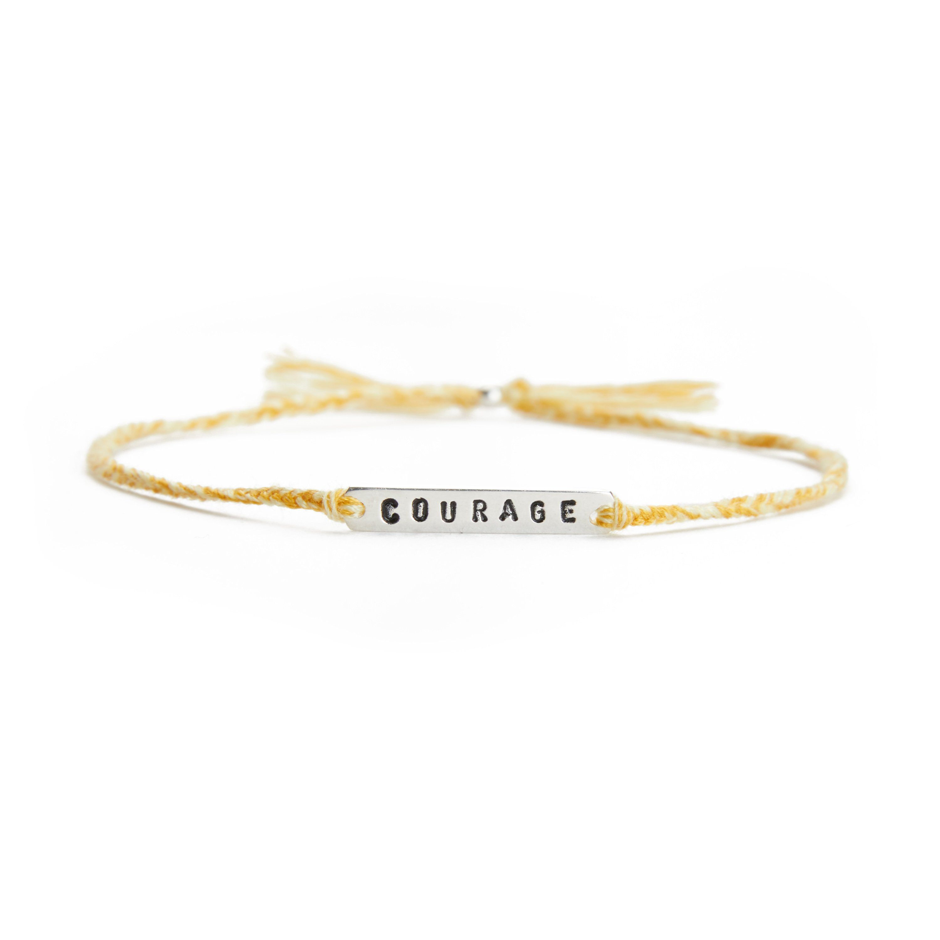 Courage yellow mix silver handmade bracelet from Santai.no
