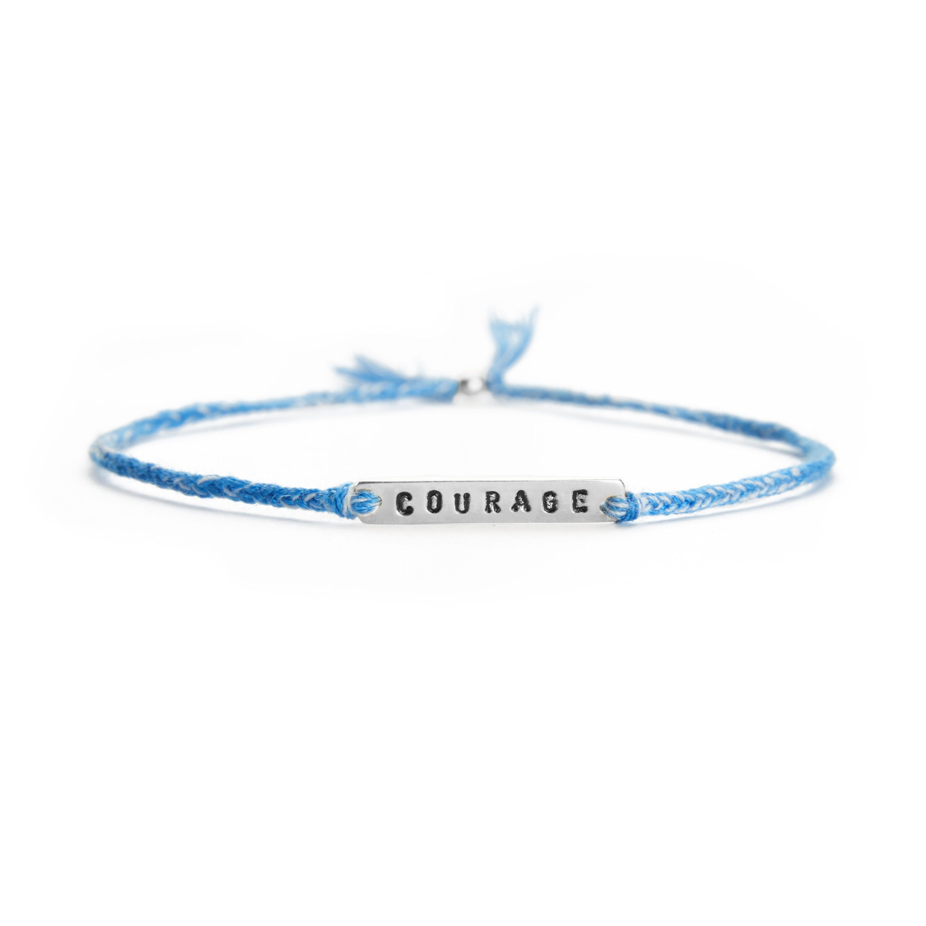 Courage blue mix silver handmade bracelet from Santai.no
