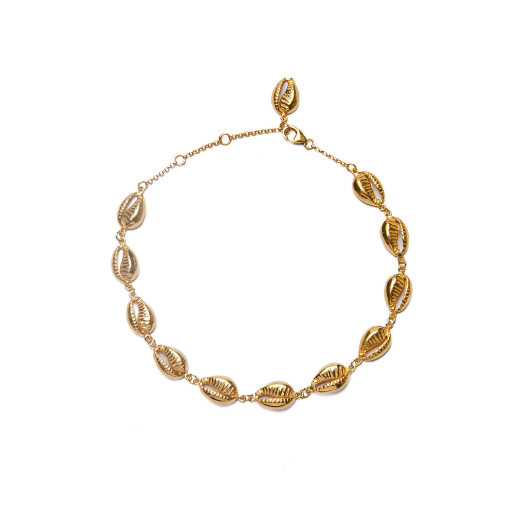 Multi shell anklet gold-plated handmade Bali