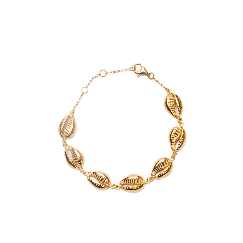 Multi shell bracelet gold-plated handmade Bali