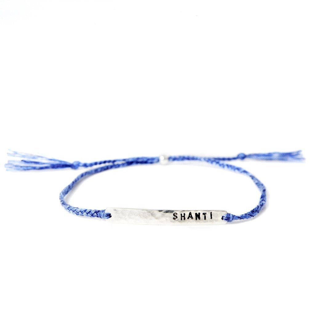 Shanti bracelet blue silver and gold handmade from santai.no