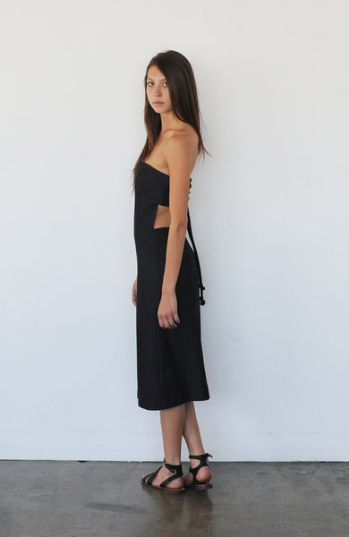 STRAPLESS TIE BACK DRESS