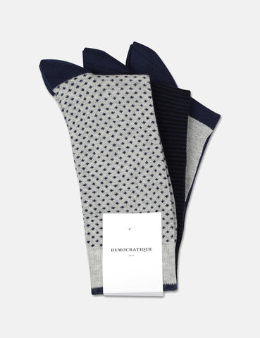 Democratique Solid Socks 3 Pack - Navy Dots/Navy Stripes/Black