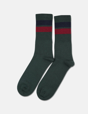 Democratique Athletic Classic Stripes Socks - Forrest Green/Navy/Red Wine
