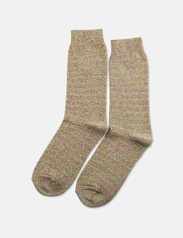 Democratique Slub Knit Supermelange Socks - Purplish Pink/Tennis Green/Dominant Yellow/White