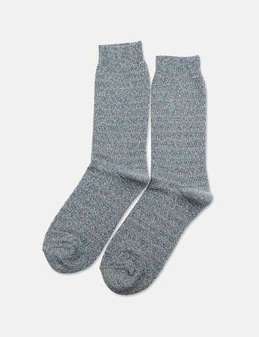 Democratique Slub Knit Supermelange Socks - Warm Coal/Off White/Diesel