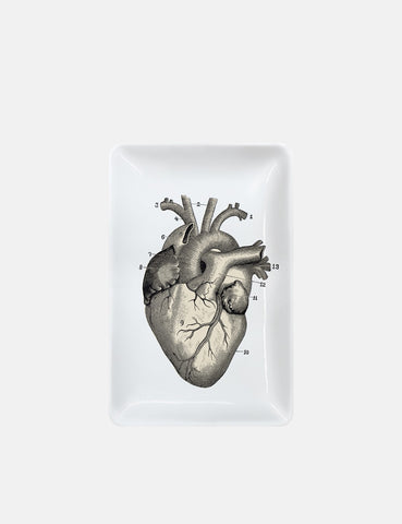 Magpie Heart Trinket Tray (Rectangular) - White