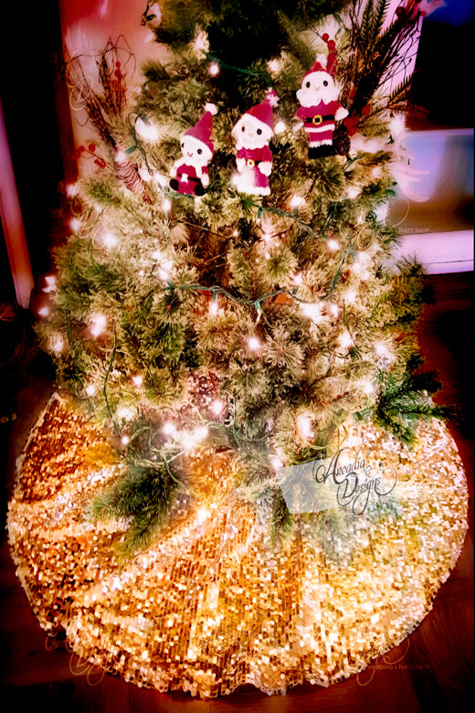 Arcadia Designs Sequin Golden Sparkly Christmas Tree Skirt made in USA