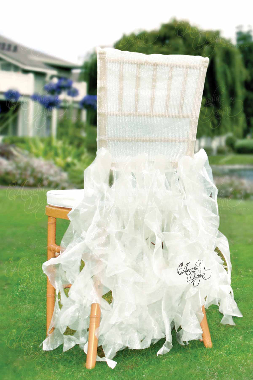 Arcadia Designs Sheer White Ruffled Bridal Chair Cover White