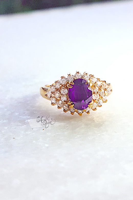Arcadia Designs Cats eye Amethyst Gemstone Gold Ring February Birthstone Lavender Crystal Ring One of a kind Art Deco Oval Gem Jewelry Gift for Her Bridesmaid Ring