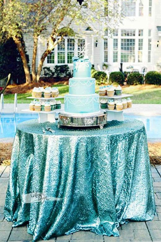 Arcadia Designs Shimmer Turquoise Sequin Tablecloth