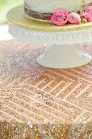 Arcadia Designs Geometric Rose Gold Sequin Tablecloth Rose Gold
