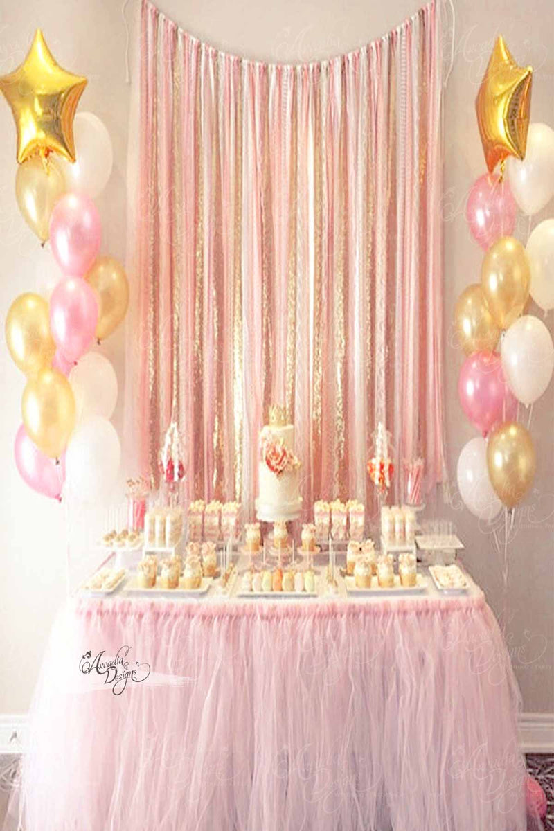 Arcadia Designs Blush Pink & Gold Tassel Backdrop