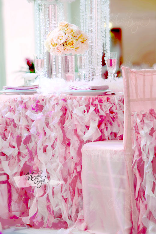 arcadia designs Pink Curly Sashes Ruffled Table Skirt