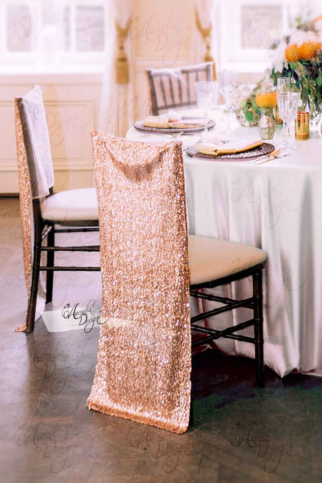Arcadia Designs Shimmer Rose Gold Chiavari Sequin Chair Cover Rose Gold