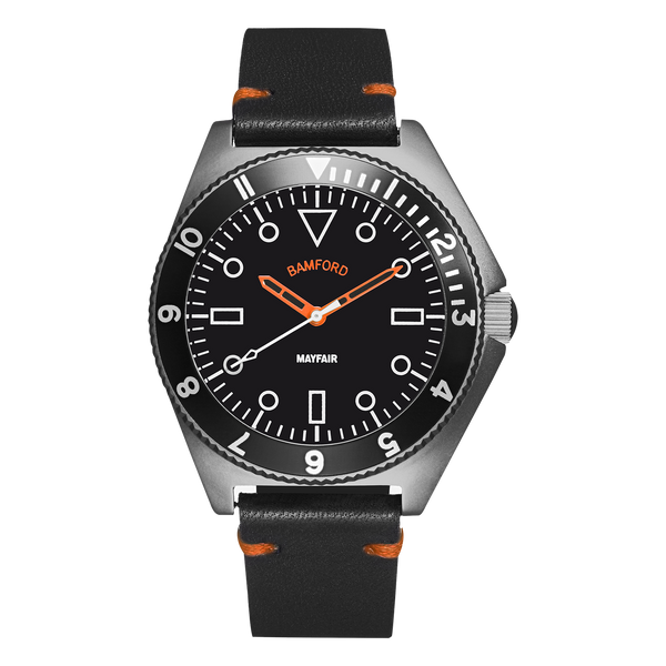 BAMFORD MAYFAIR MATTE GREY/ORANGE - LEATHER