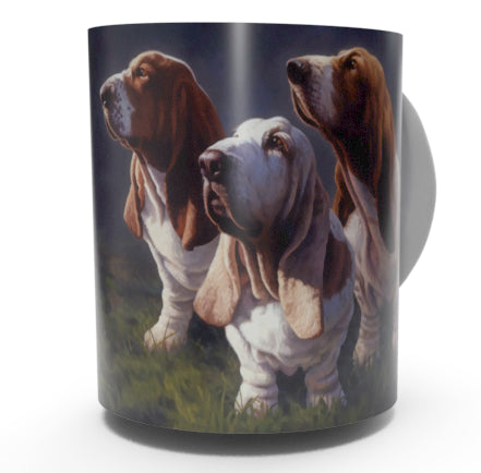 BASSETT HOUND COFFEE MUGS-Art by Greg Alexander