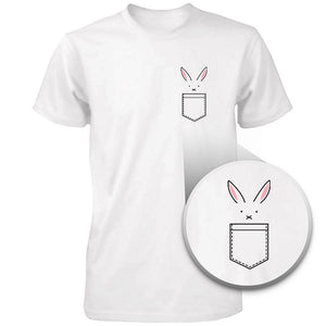 Bunny In Pocket Women's T-shirt Easter Tee Cute Rabbit Pocket Printed Shirt - 365INLOVE