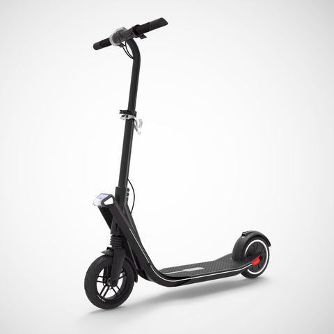 EXOOTER E3 Urban Electric Scooter With 250W-500W Motor And LED Lights In Black.
