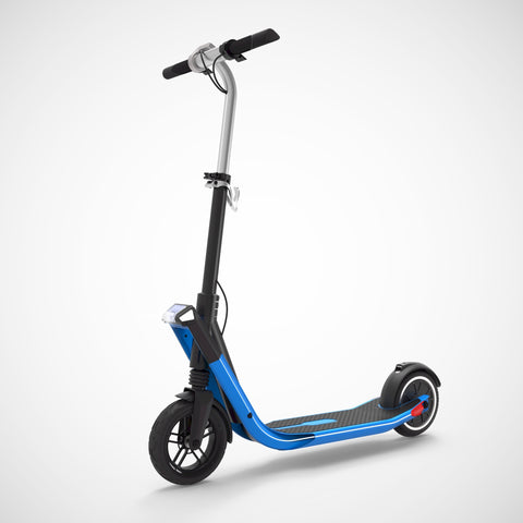 EXOOTER E3 Urban Electric Scooter With 250W-500W Motor And LED Lights In Blue.