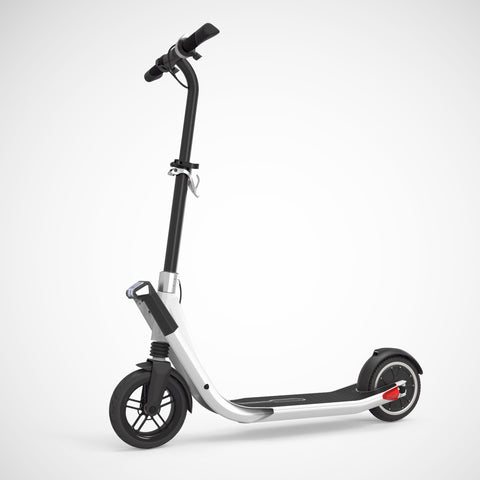 EXOOTER E3 Urban Electric Scooter With 250W-500W Motor And LED Lights In Silver.