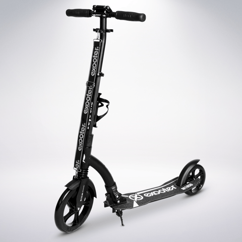 EXOOTER M1850BB 6XL Adult Kick Scooter With Front Shocks And 240mm/180mm Black Wheels In Black.