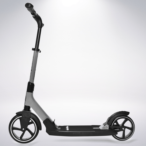 EXOOTER M7 Adult Kick Scooter With Dual Suspension Shocks And 240mm/200mm Big Wheels In Gray.