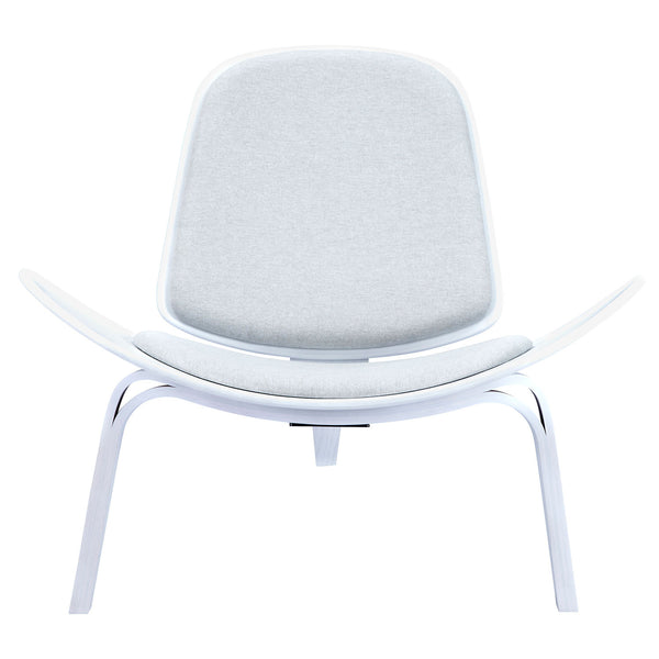 Oatmeal Gray Shell Chair - White
