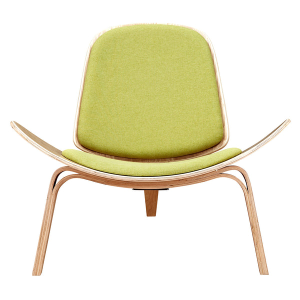 Avocado Green Shell Chair - Natural