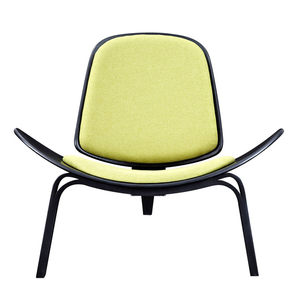 Avocado Green Shell Chair - Black