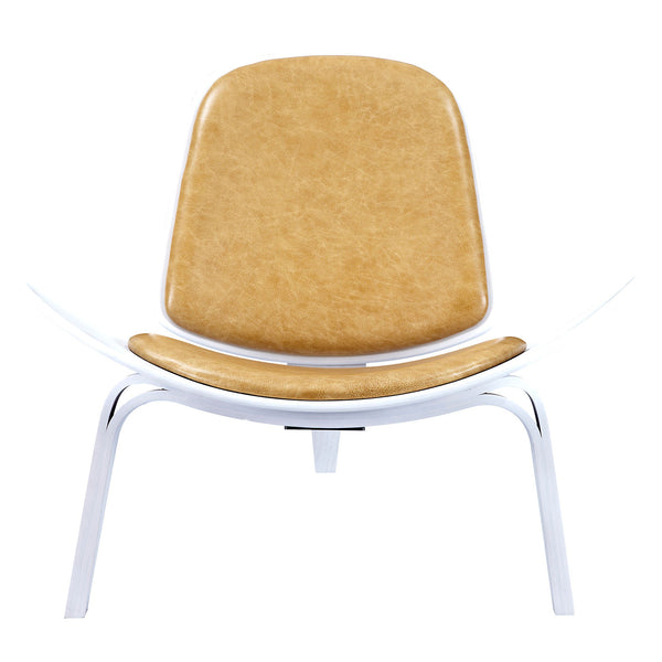 Aged Maple Shell Chair - White