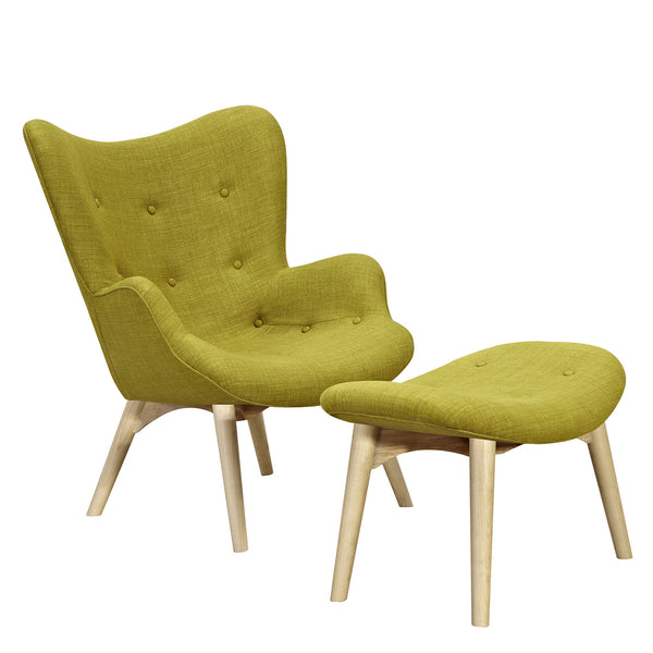 Avocado Green Aiden Chair-Natural
