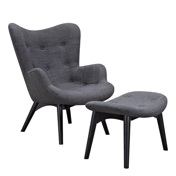 Charcoal Gray Aiden Chair-Black