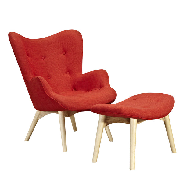 Lava Red Aiden Chair-Natural